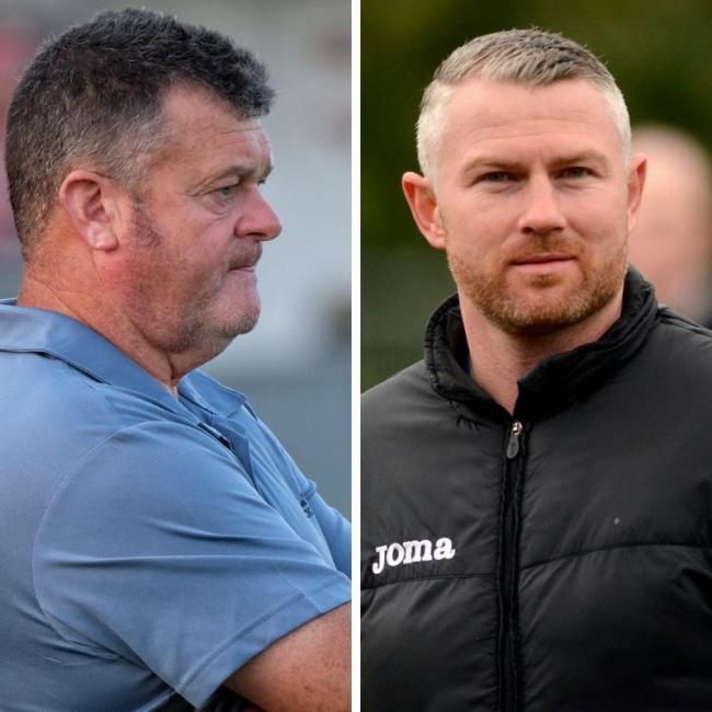 Windsor manager Mick Woodham, left, and Burnham boss Paul Shone, right, saw their sides beaten on the opening day of the new season in the Hellenic Premier Division.