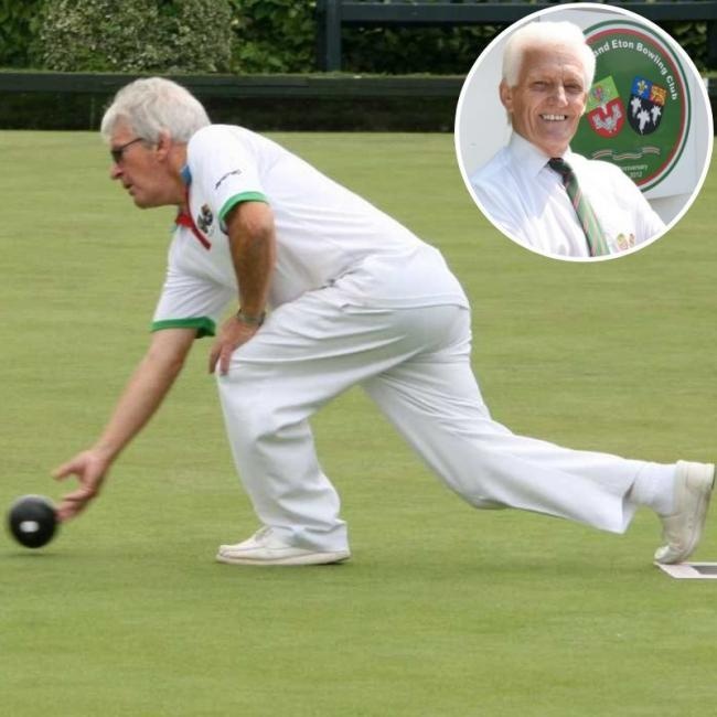Windsor & Eton Bowls Club star Tony Scott in action during the County Championships Singles final against Simon Jones. Inset, Rob Gordon was a part of the top rink for the Goswell Meadow club in the defeat at Maidenhead Thicket in the KLV League.