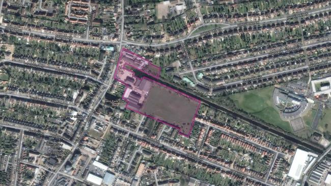 Aerial view of Stoke Road
