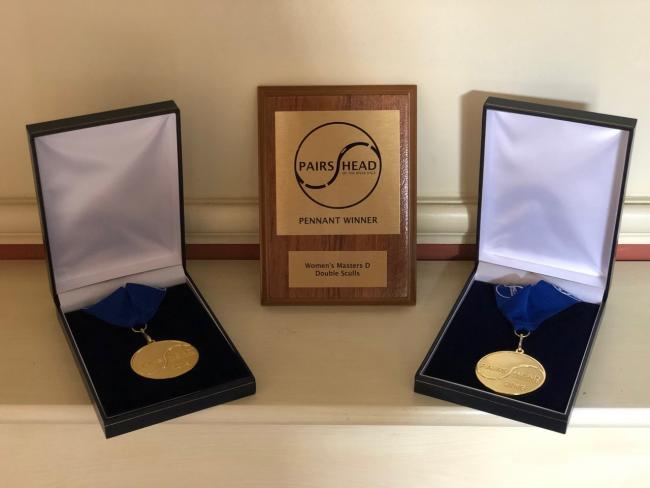 The Pairs Head Pennant and medals won by Eton Excelsior Rowing Club at Barnes Bridge Ladies Rowing Club.