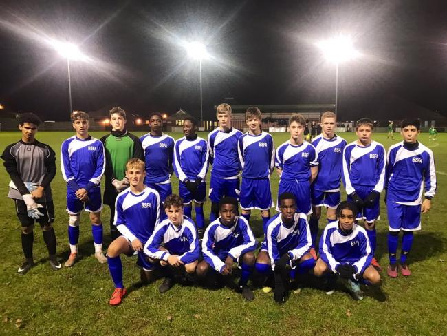 The Berkshire Schools Football Association Under 14s team which includes Slough-based keeper Sebastian Stacey.