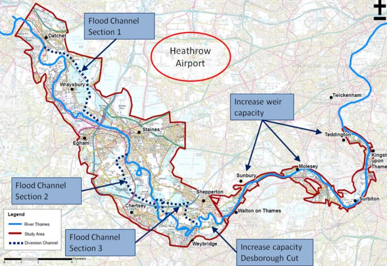 Map of the orginal River Thames Scheme