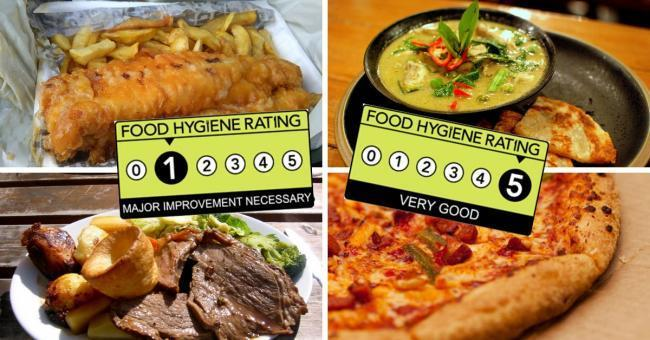 Food hygiene scores are rated from 0 to 5.