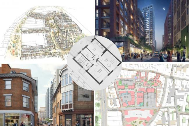 A collage of photos of the 'Nicholson Quarter' plans
