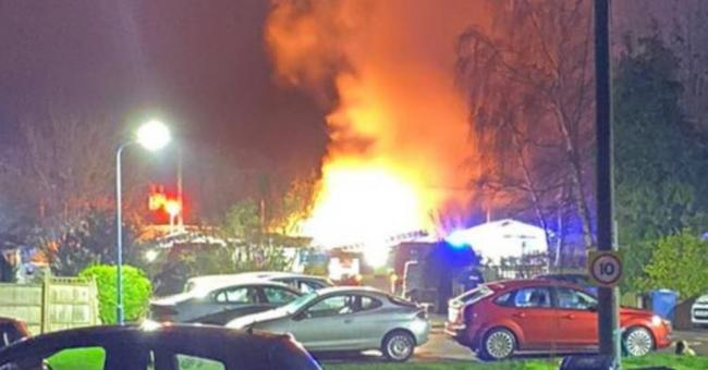 A section of Cranbourne Hall Park was set ablaze after an explosion at the park