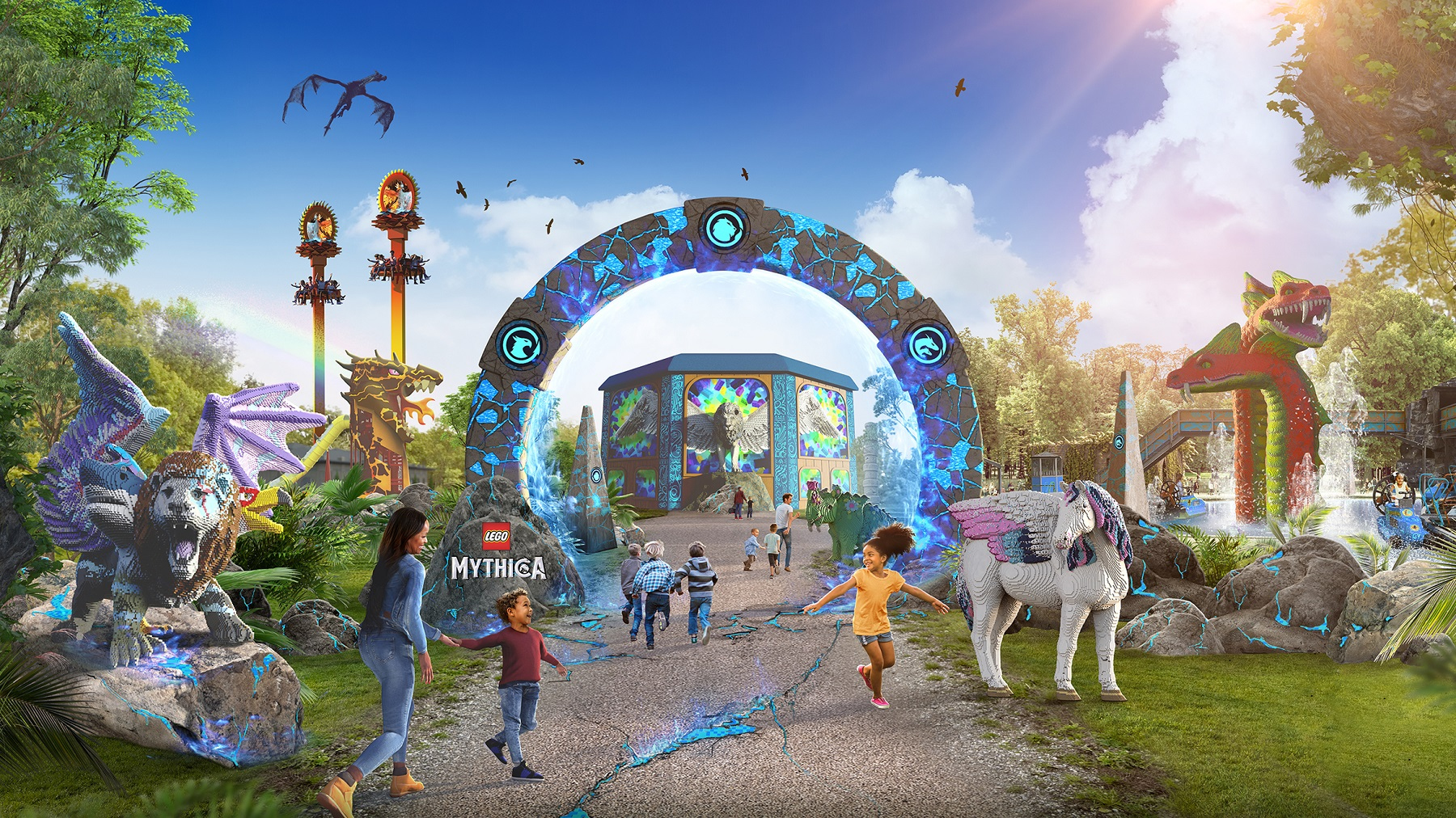 Artists impression of Lego Mythica .Legolands new multimillion-pound section opening in May. Pic: Legoland/PA