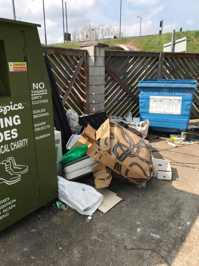 Fly-tipping at the centre's skip (Kavvadias)