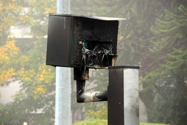 Vandals set fire to speed camera