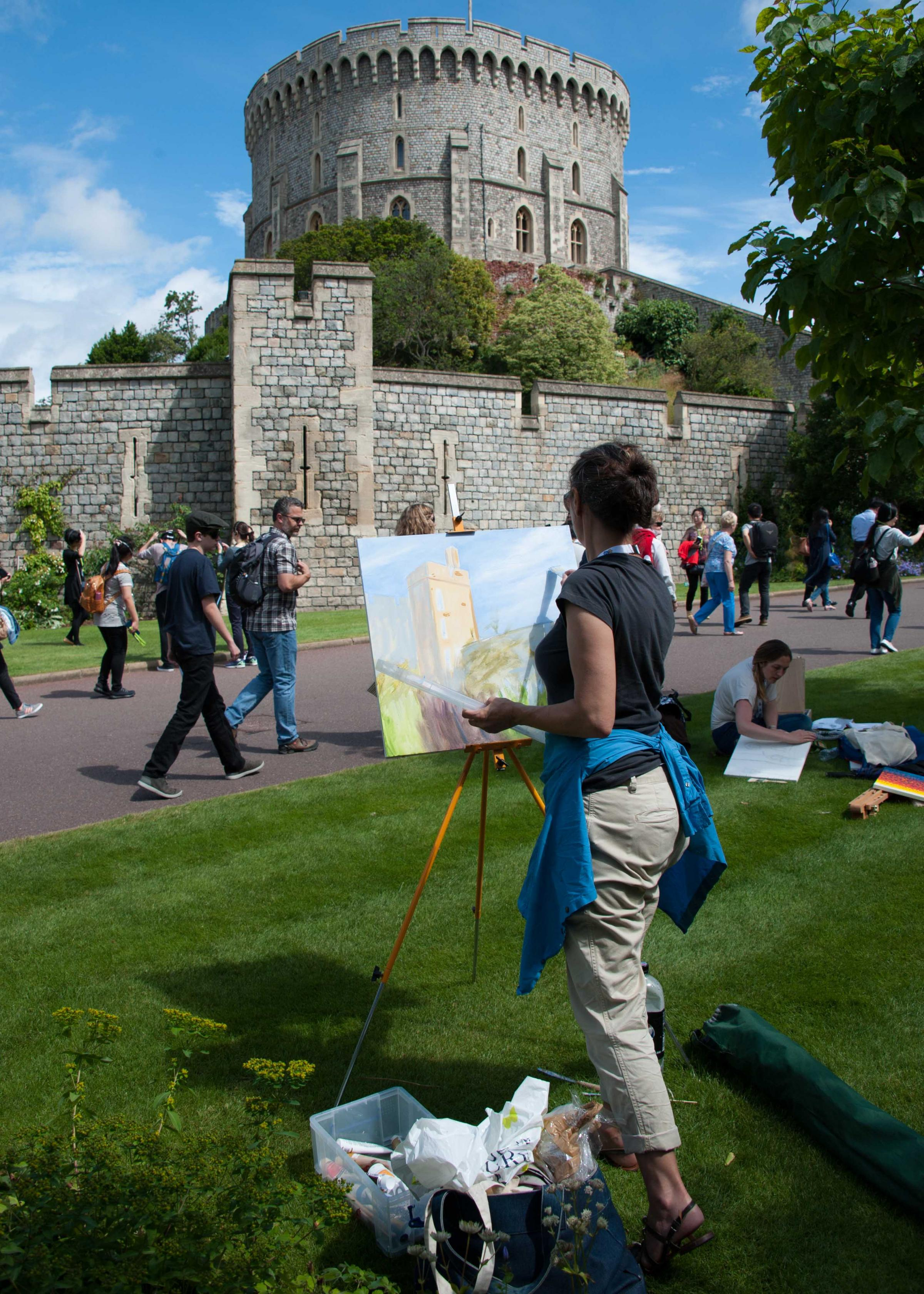 Sizing up the castle - picture by Gill Aspel