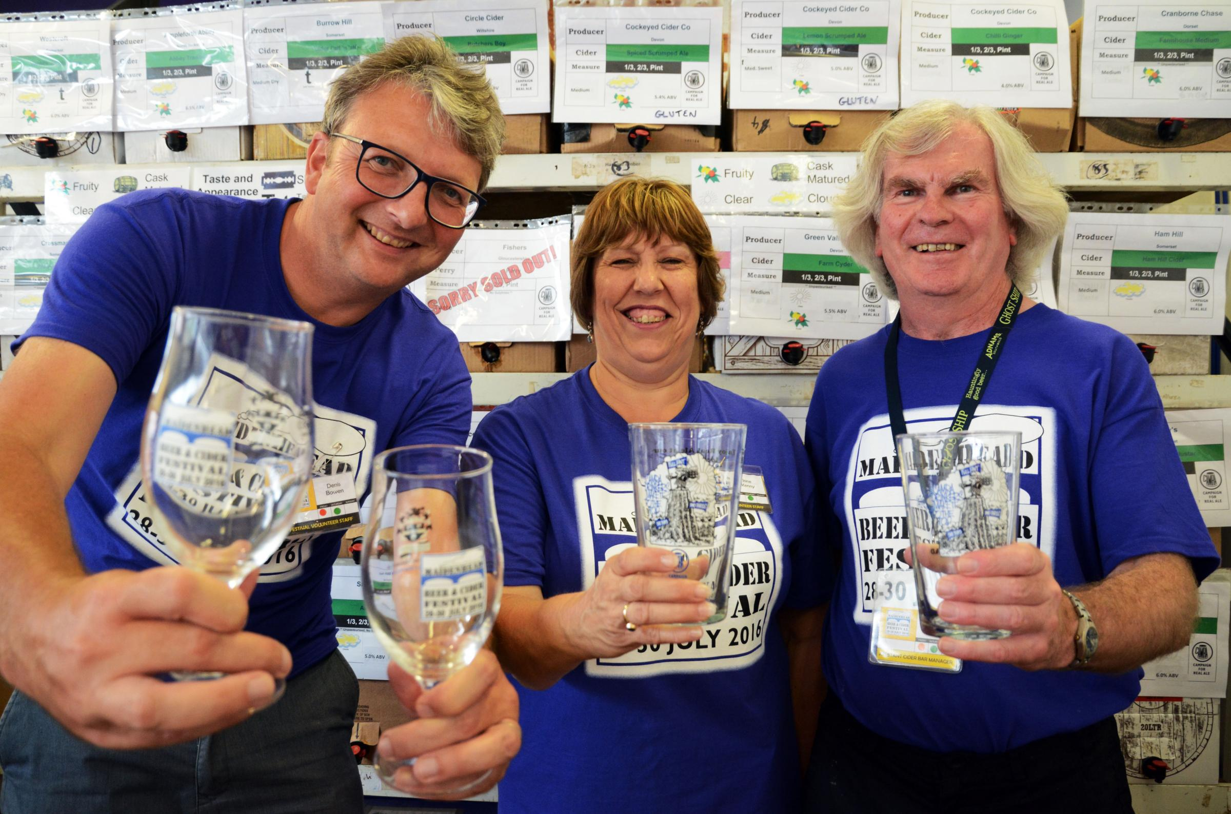 Denis Bowden, Jane Kenny and Adam Miller work the cider bar - Maidenhead Beer and Cider Festival, Deborough College, Maiudenhead - Pictures: Mike Swift 160787.