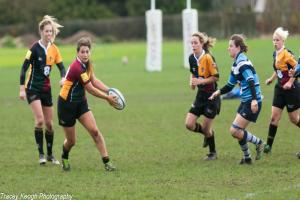 "Windsor Dames captain Sophie Barnett (ball in hands): ""We probably could have scored a few more tries but we played really well. It was such a relief when the referee blew the final whistle after a few dodgy calls."