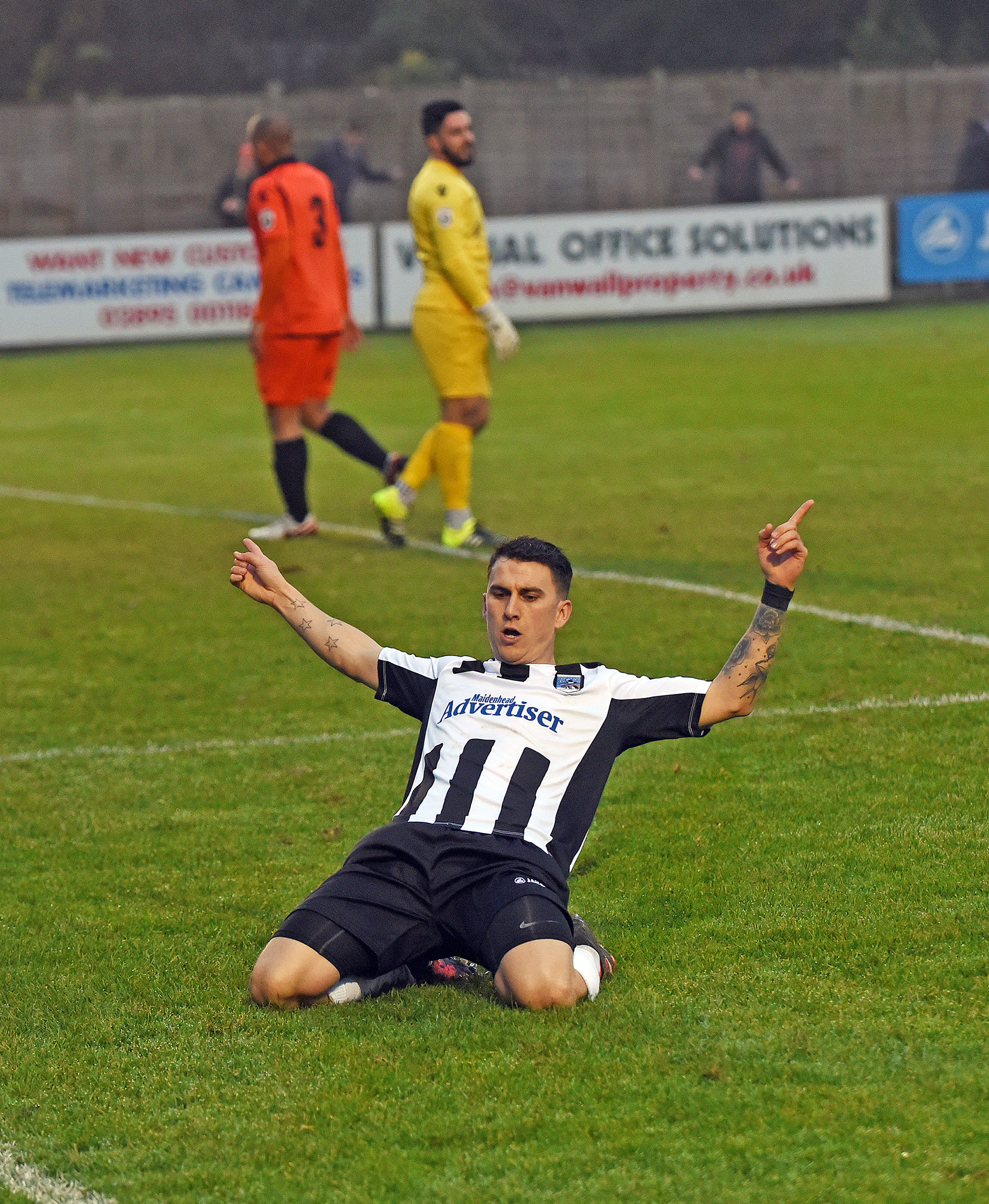 Dave Tarpey scored all four goals for Maidenhead United in the 4-1 win at AFC Fylde on Tuesday night.