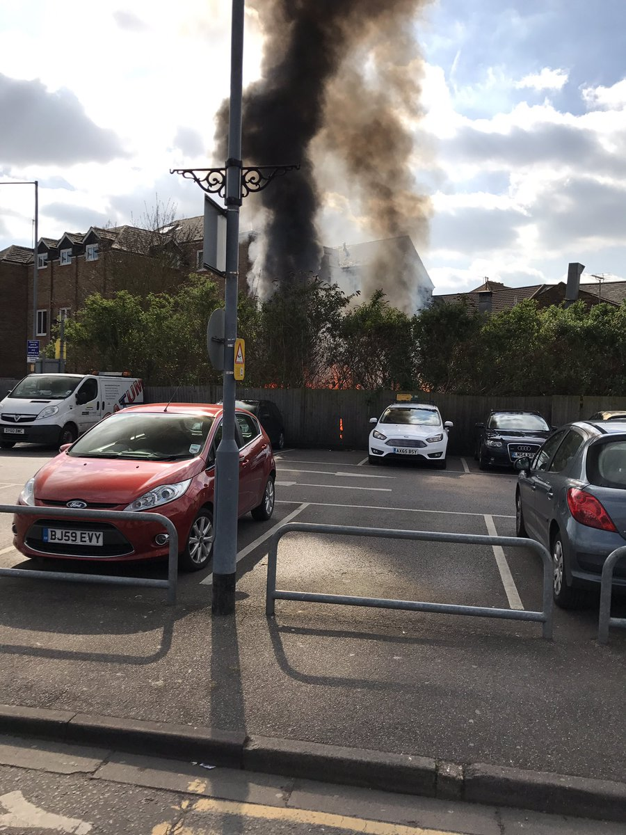 Large blaze near town centre car park