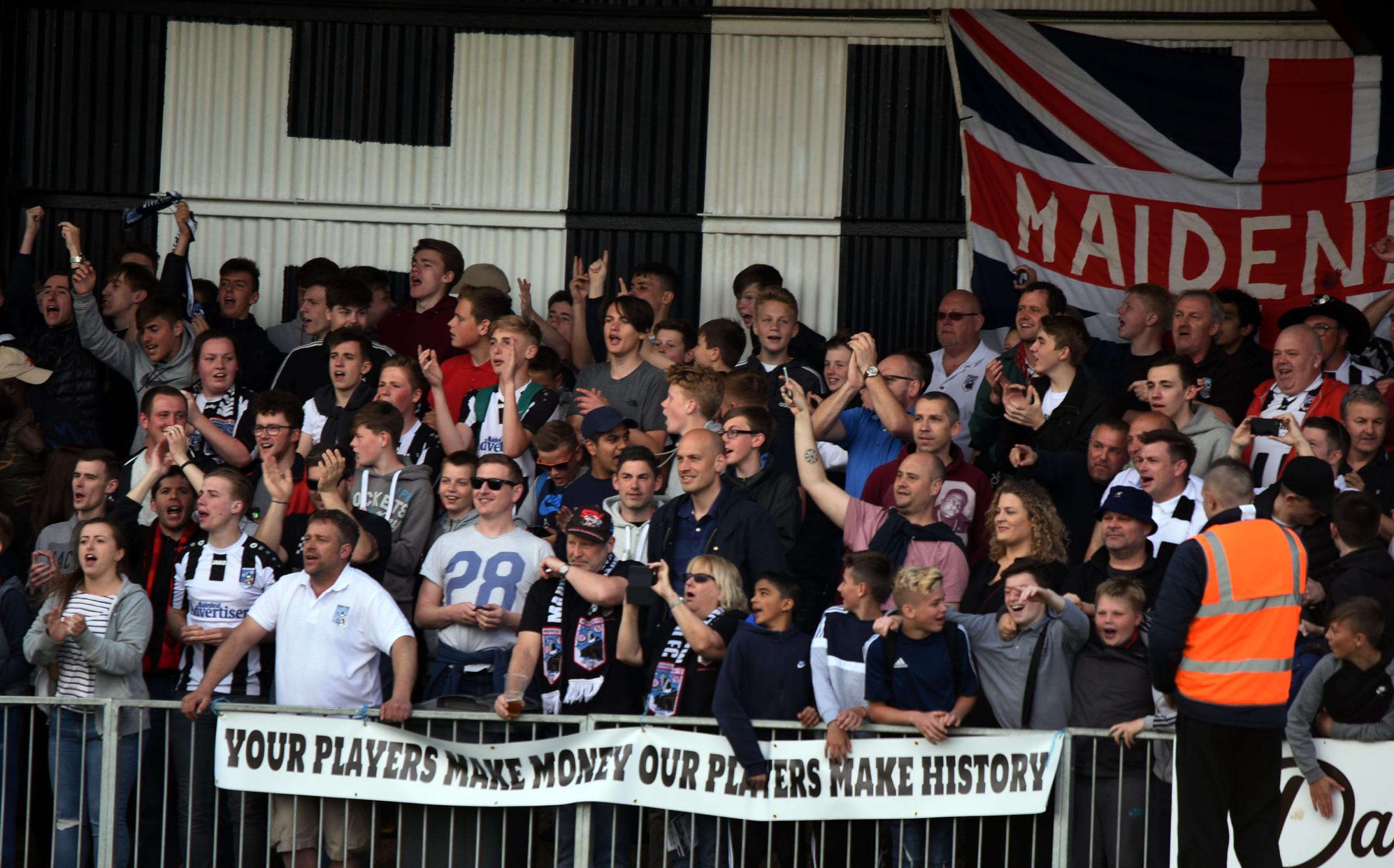 Maidenhead United supporters cheer on their side in the 2-1 defeat to Ebbsfleet United on Saturday.
