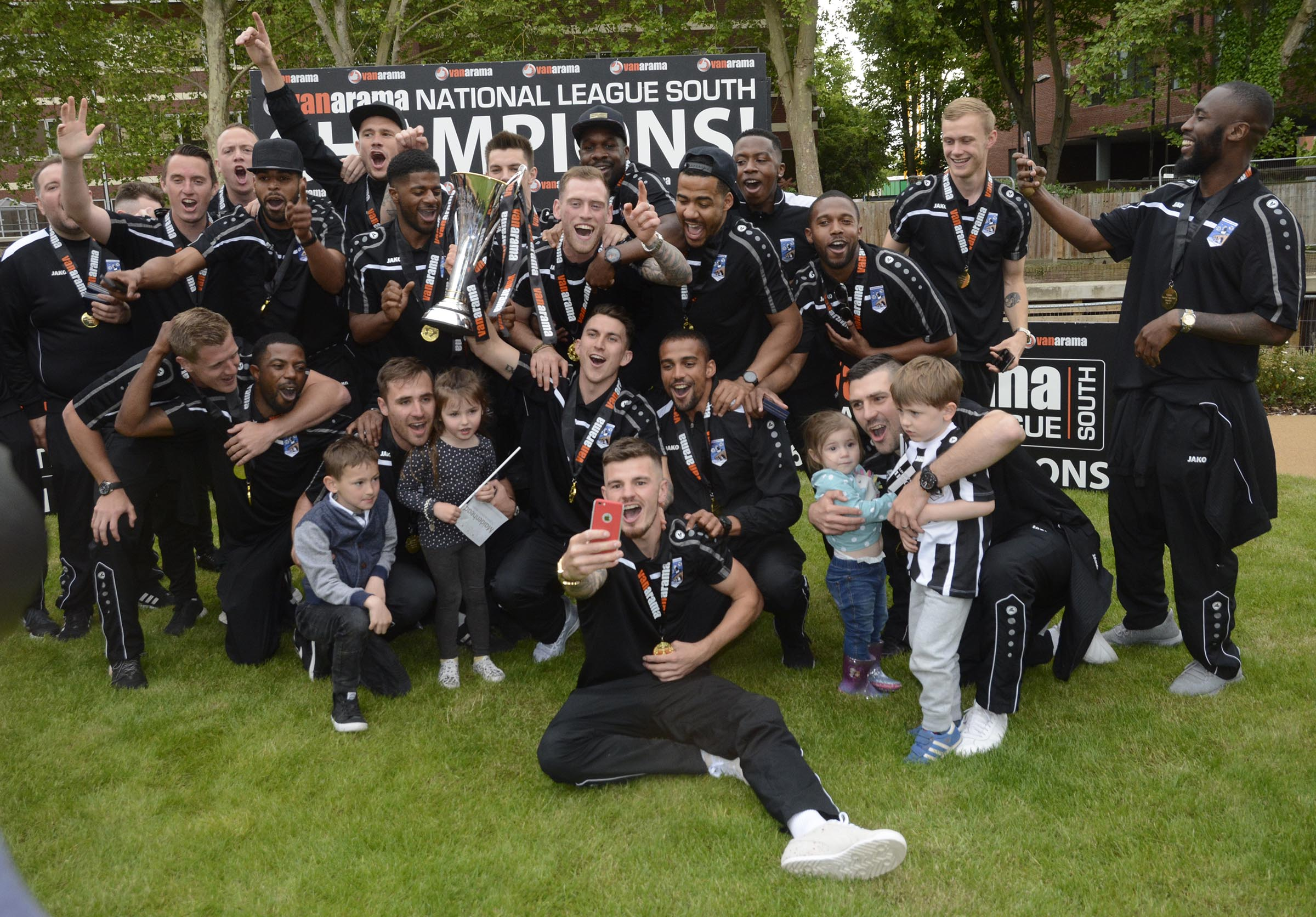 Maidenhead United celebrate with the National League South title on Saturday.