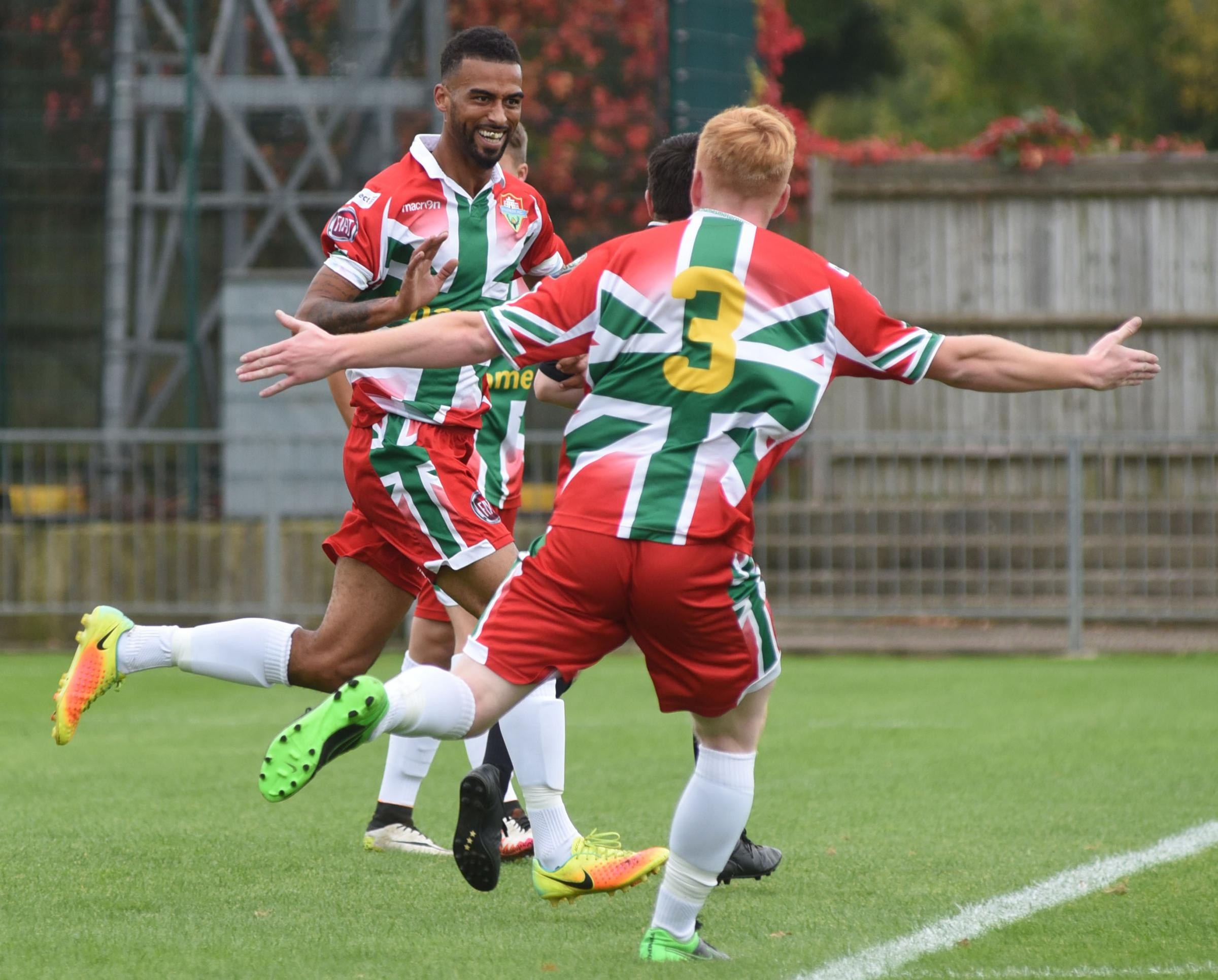 Riccardo Cannon celebrates one of his two goals as Windsor beat Highmoor Ibis 3-1 at Stag Meadow on Saturday.