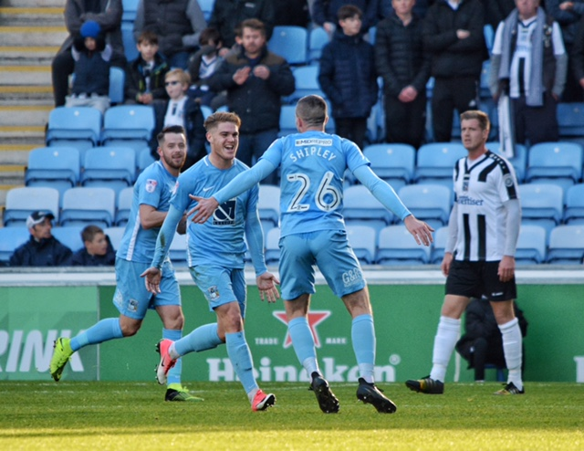 Coventry City star Jodan Ponticelli celebrates one of his two goals in the 2-0 win against Maidenhead United. PHOTOS: Mike Swift.
