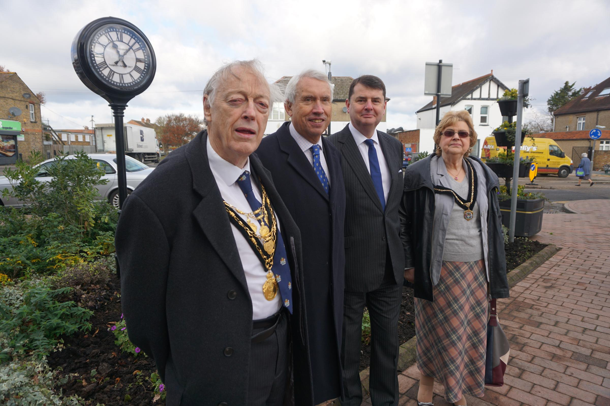 The new clock unveiled by the Mayor and Mayoress and the Lord Lieutenant