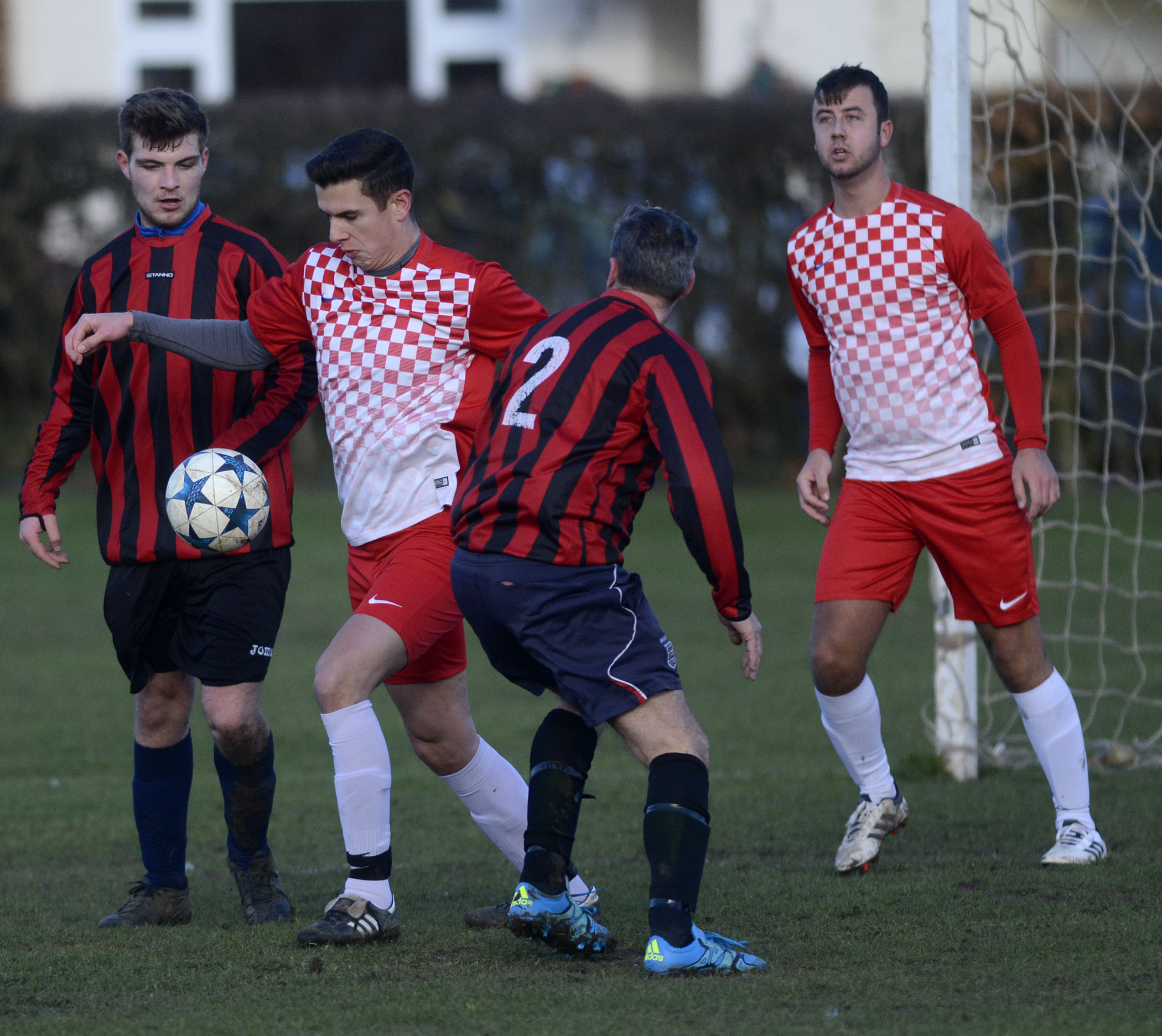 Langley Galaxy (red and white) beat rivals Langley Old Boys (red and black) 6-2 at Kedermister Park on Sunday.