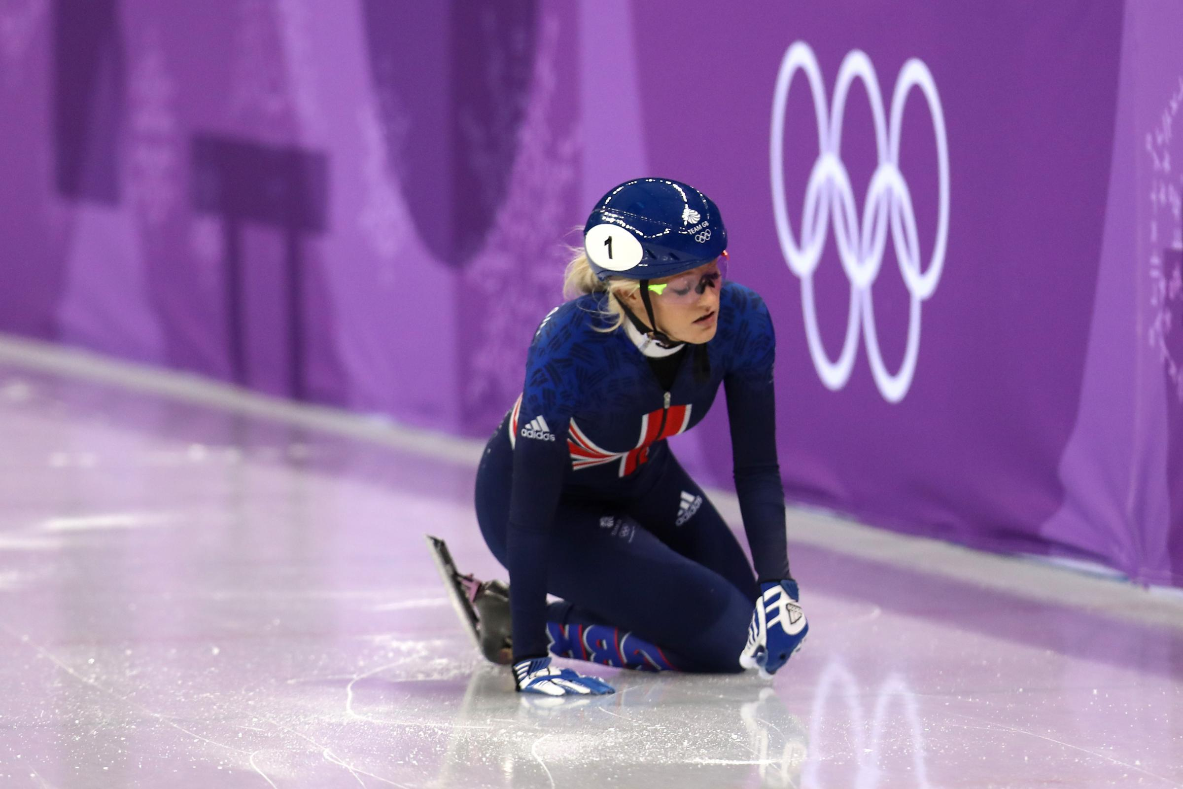 Great Britain's Elise Christie crashed in the women's 500m short-track speedskating final (Mike Egerton/PA Images)