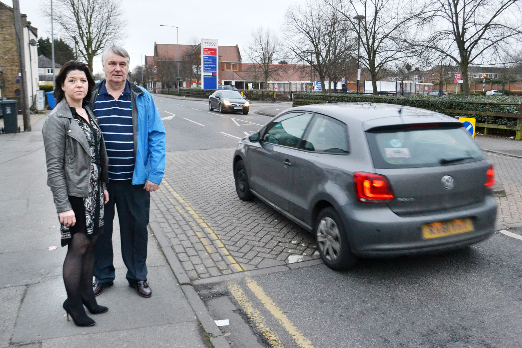 Councillors Phill Bicknell and Nicola Pryer survey the Dedworth road scene