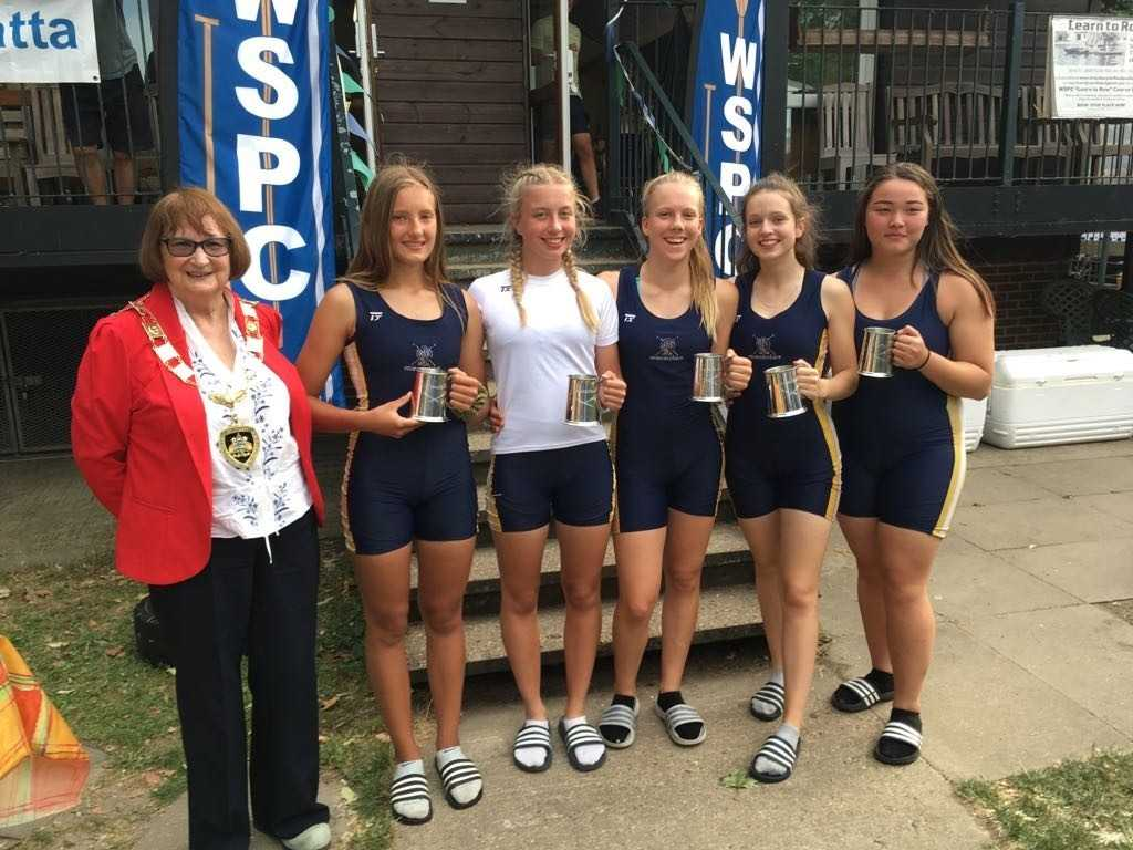 The Eton Excelsior Rowing Club J15 coxed squad that won at the Egham Regatta.