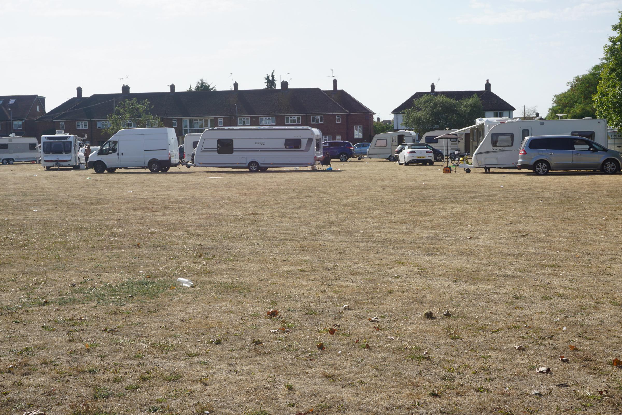 Travellers caravans on the recreation ground