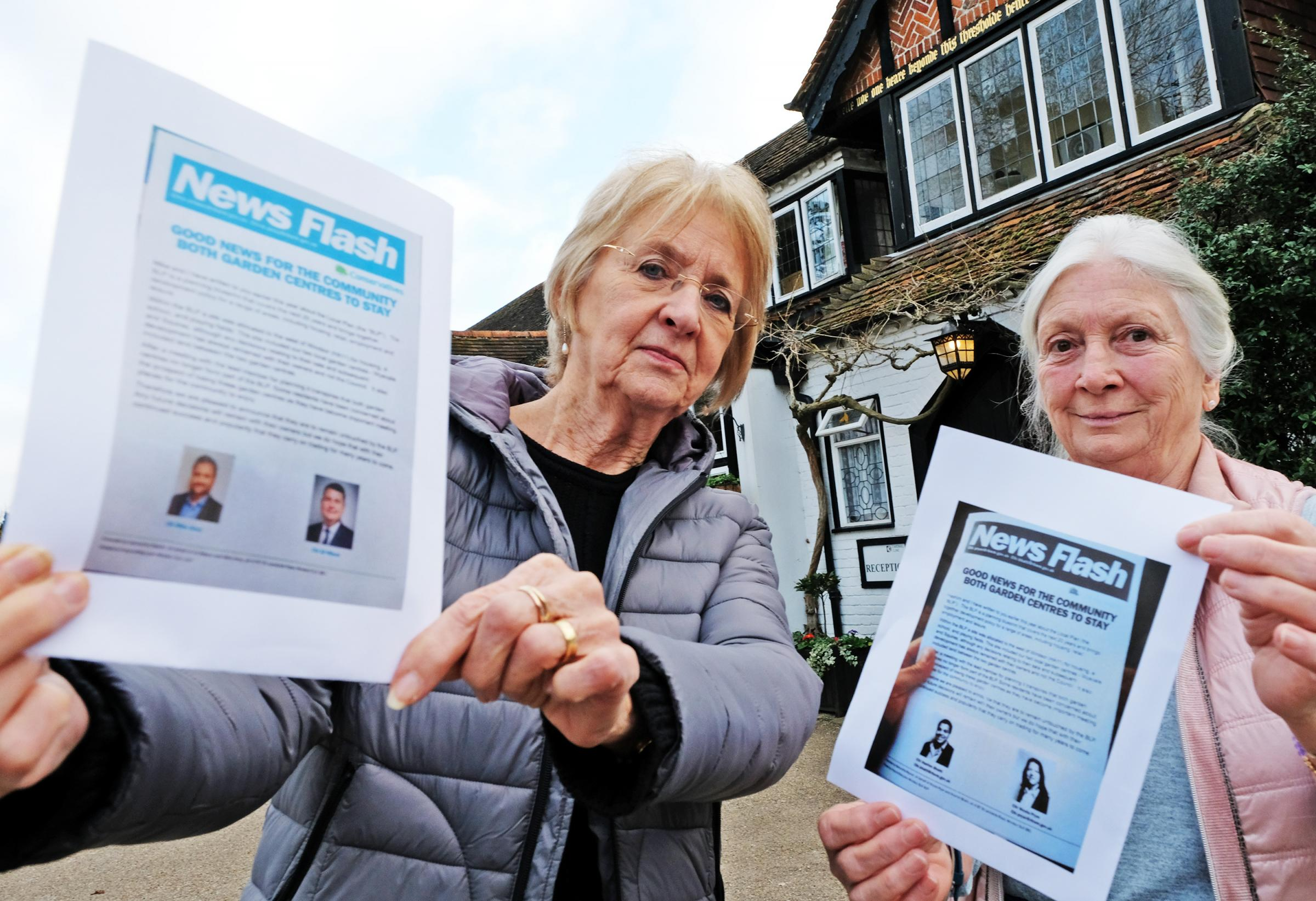 Ann Taylor and Pat Morrish with the misleading leaflets - which have not been forgotten