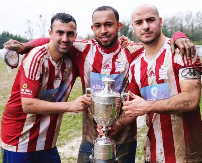 Iver Heath star Dean Papali (far left) bagged a brace in the 3-1 win against FC Beaconsfield in the semi final of the Maidenhead Norfolkian Senior Cup on Saturday.