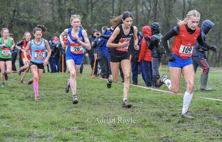 Charlotte Firth (blue vest) finished in fifth place on the opening long leg of the senior ladies race.