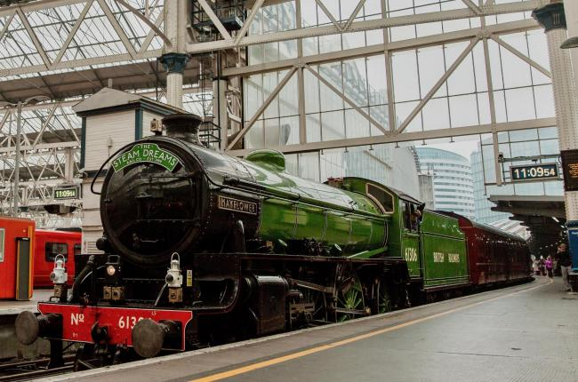 Steam train The Mayflower travelling from London Waterloo to