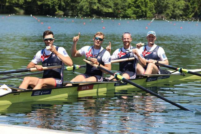 The men's four, including Windsor-based Ollie Cook, celebrate after winning a first European Championship gold medal for Great Britain since 2017. PHOTO: Nick Middleton.